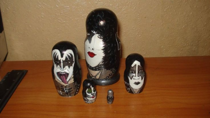 SET OF 5pc hand painted wooden russian matryoshka nesting dolls KISS ROCK BAND #Unbranded