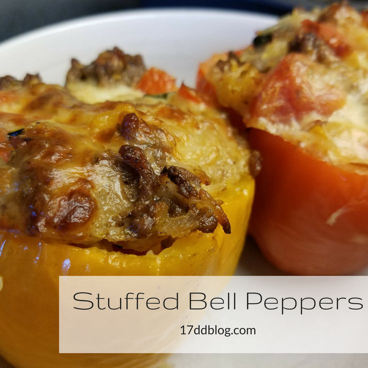 Here's an easy and super delish recipe for a healthy version of a stuffed pepper. Instead of the traditional rice binder, you use riced cauliflower! YUM!
