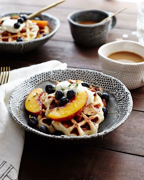 Orange-Thyme Waffles with Mascarpone and Fruit