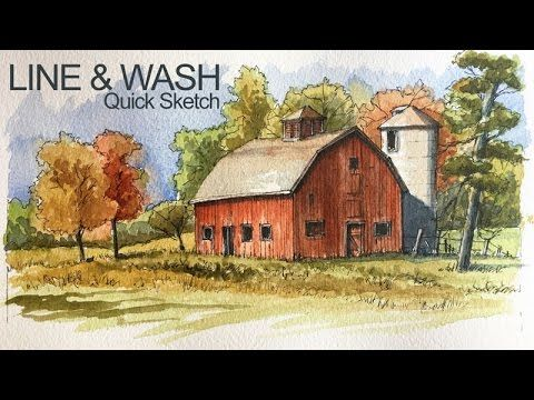 Line and Wash Lesson - Watercolor and Pen and Ink Landscape Sketch by The Virtual Instructor - Drawing Technique