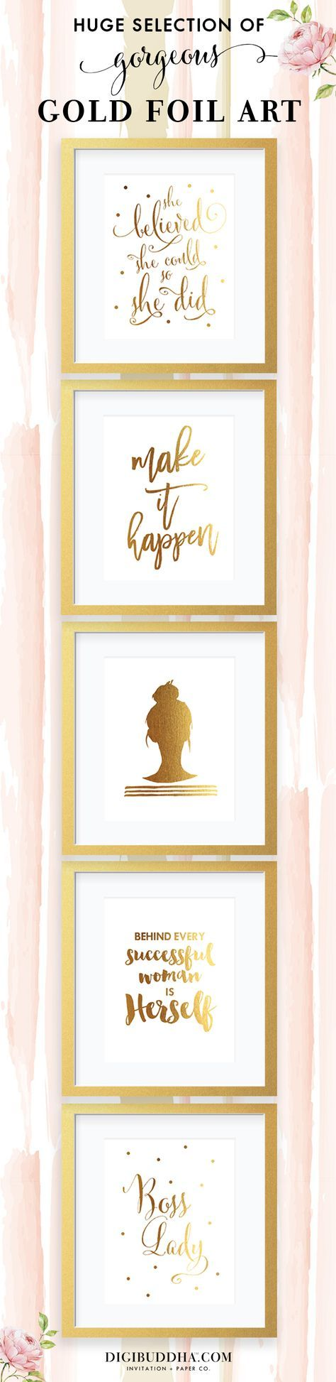 Chic gold foil art prints in tons of gorgeous designs.