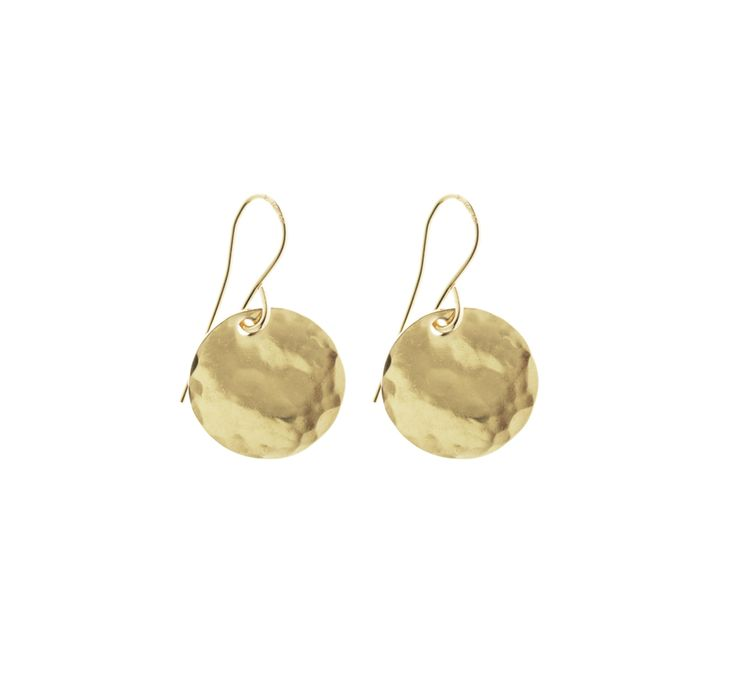 Classic Hammered Disc Earrings - Gold, Silver, Rose Gold