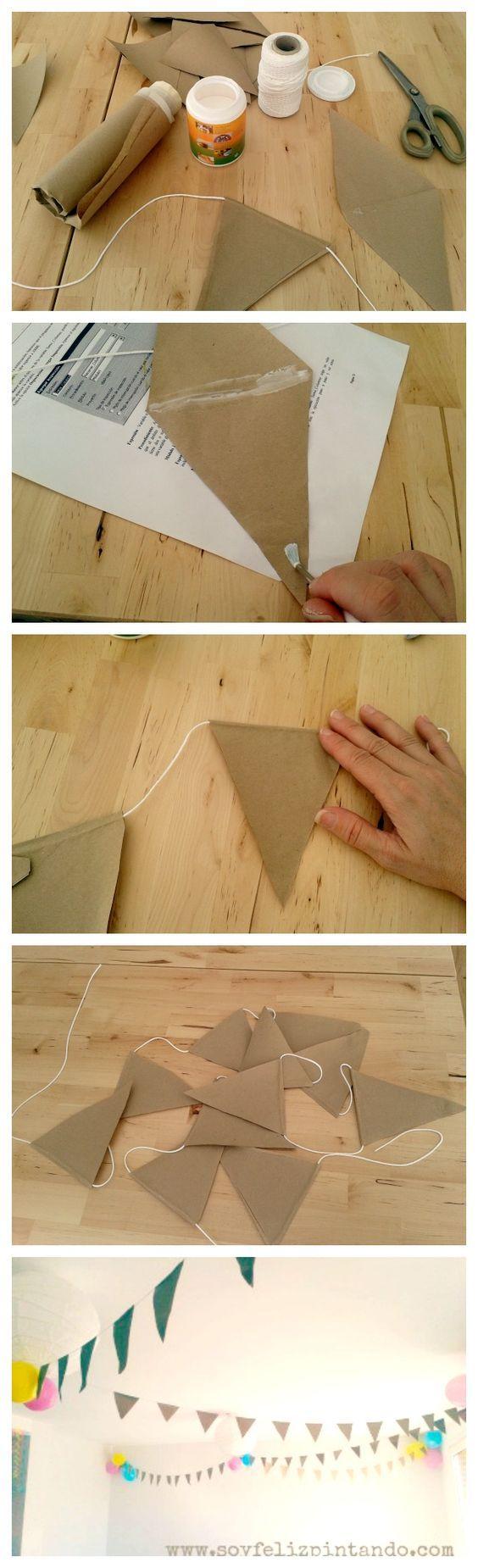 Banderines de papel kraft para decorar cumpleaños - http://xn--manualidadesparacumpleaos-voc.com/banderines-de-papel-kraft-para-decorar-cumpleanos/