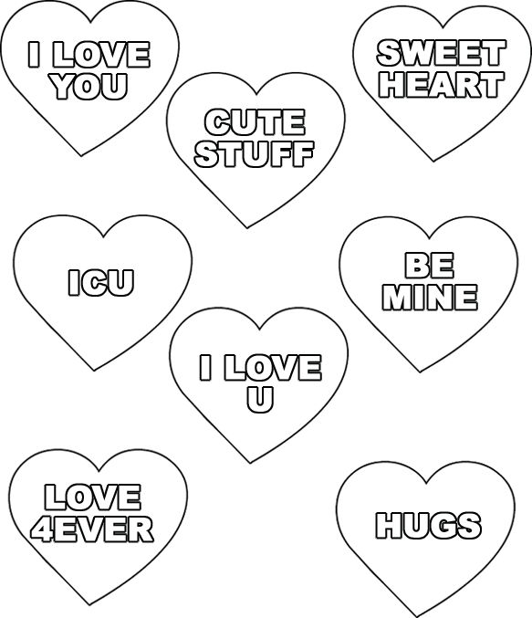 Valentine Conversation Hearts Coloring Pages