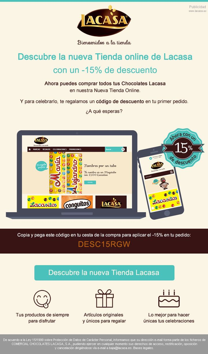 LACASA · Launch Newsletter for the completely renovated e-commerce site we created for Spanish chocolate leader Lacasa. The perfect stop for fans of #Lacasitos, #Conguitos, #ChocolatesLacasa and more! ♥ https://www.tienda.lacasa.es · March, 2015