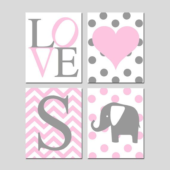 Baby Girl Nursery Wall Art Pink and Gray  Set of Four by Tessyla