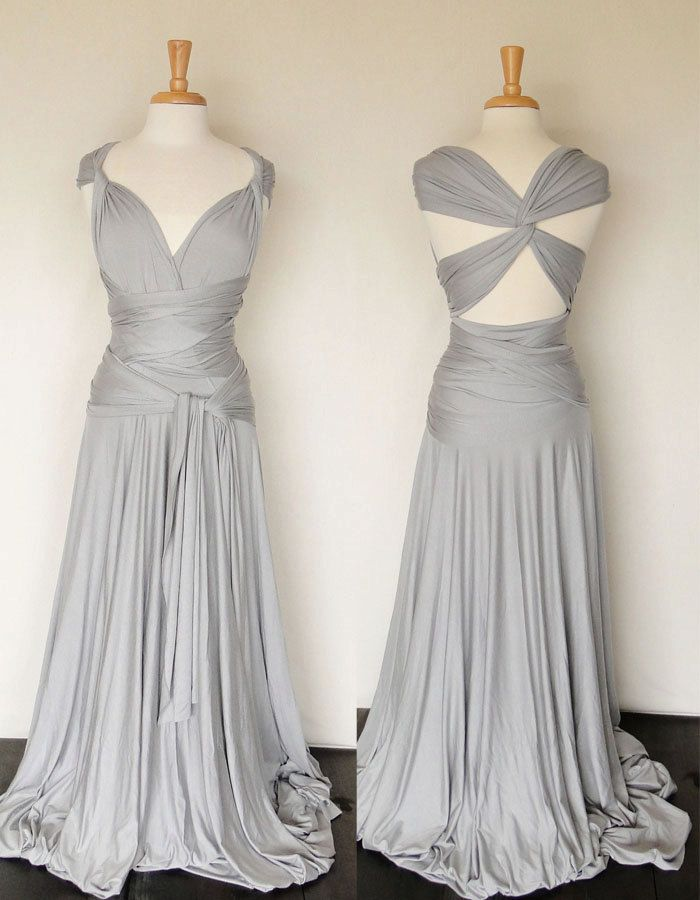 Convertible Infinity Dress in light grey, Floor length dress, Formal Gown. $185.00, via Etsy.