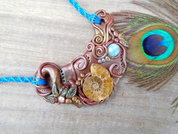 Larimar Ammonite ketting verklaring hanger Oceaan Clay kristallen sieraden zeemeermin Fairy