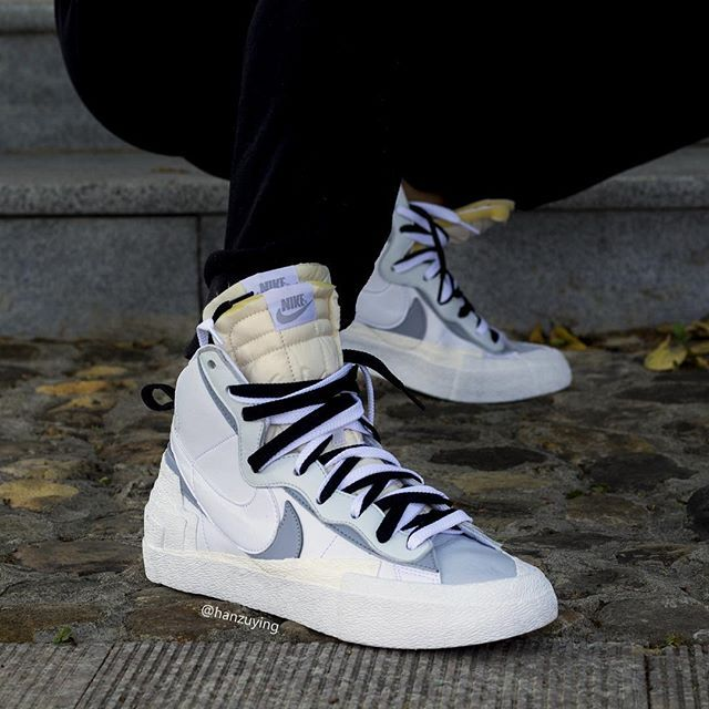 cheapest wholesale online factory outlets On-feet look of the Sacai X Nike Blazer Mid White/Wolf Grey ...