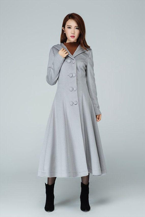 princess coatlight grey coat long coat pleated coat double