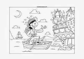 lembar mewarnai balita/TK, bajak laut baik sedang bertemu