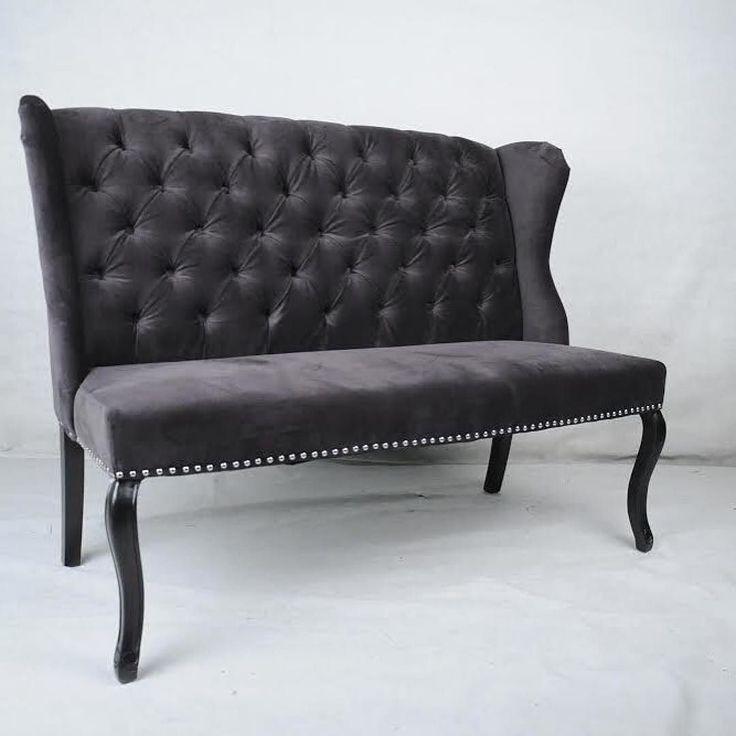 """#Repost @classicliving  Louis Spisestuesofa (Grå Velour): kr890000  En flott sofa i spisebordshøyde med god sittekomfort. Sofaen har lekre detaljer med """"pushed in buttons"""" og sølvnagler.  Mål: L: 180 cmD: 75 cmH: 105cm  TO BUY: Comment with your email address and you'll receive a secure checkout link.  Shop this post and others at http://ift.tt/1SfQncY"""
