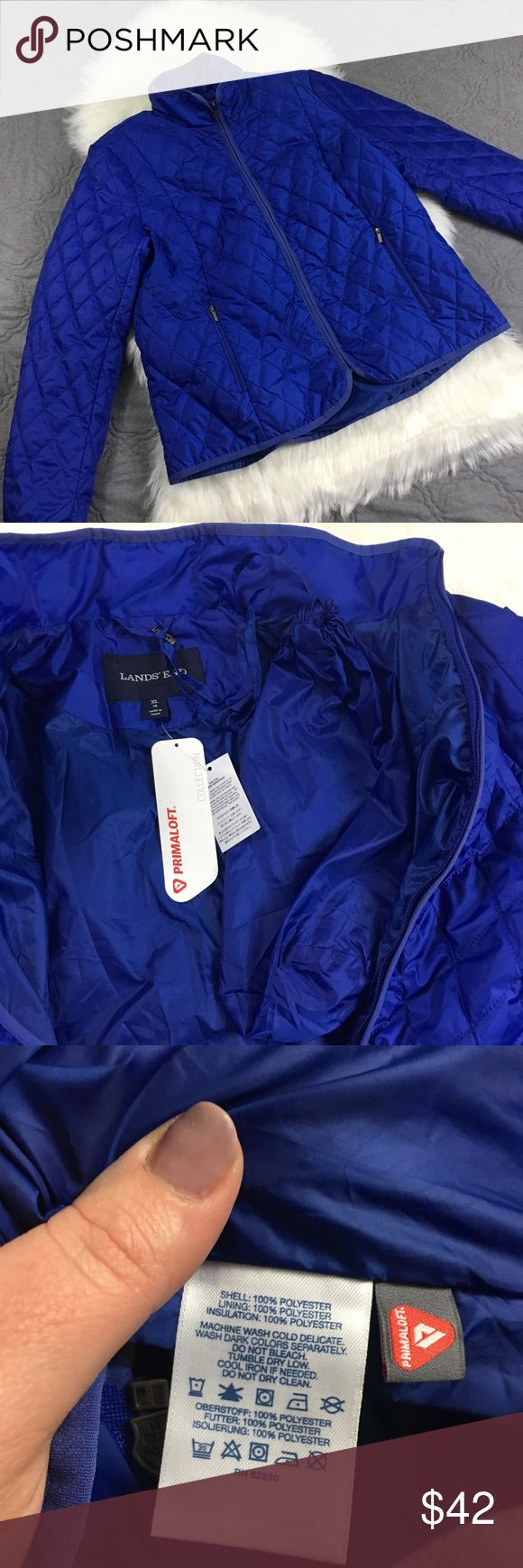 Lands End Blue Primaloft Packable Winter Coat XL Beautiful blue! Super warm yet not bulky. New with tags. Packable, can be folded down to the side of the small included bag. No trades accepted but offers welcome Lands' End Jackets & Coats Puffers