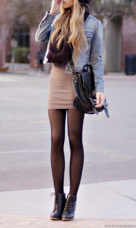 fall hat, denim, scarf, tight skirt, big purse, plain black tights, booties