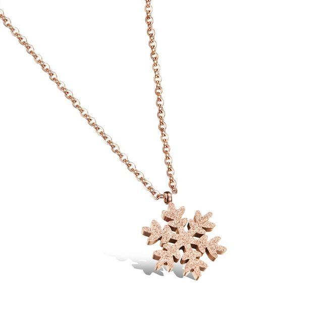 Розового золота ожерелья для женщин из нержавеющей стали ожерелье ювелирных изделий женщины ожерелье снег скучный польский ювелирные изделия GX1031