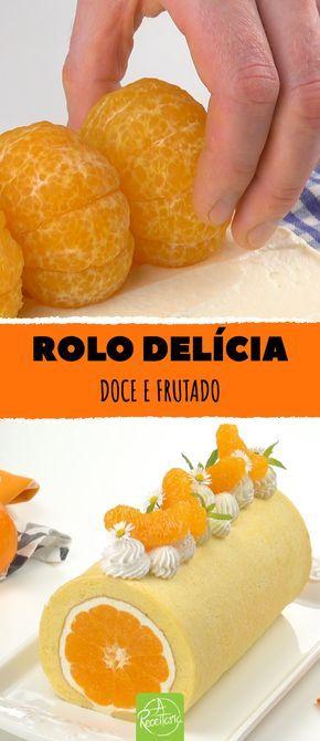 Rolo delícia. Doce e frutado.  Rolo de tangerina com creme de iogurte. #boloder… – Receita