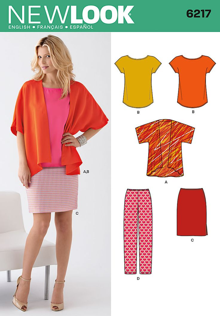 image+new+look+patterns | Details about New Look 6217 Sewing Pattern Kimono Jacket Skirt ...