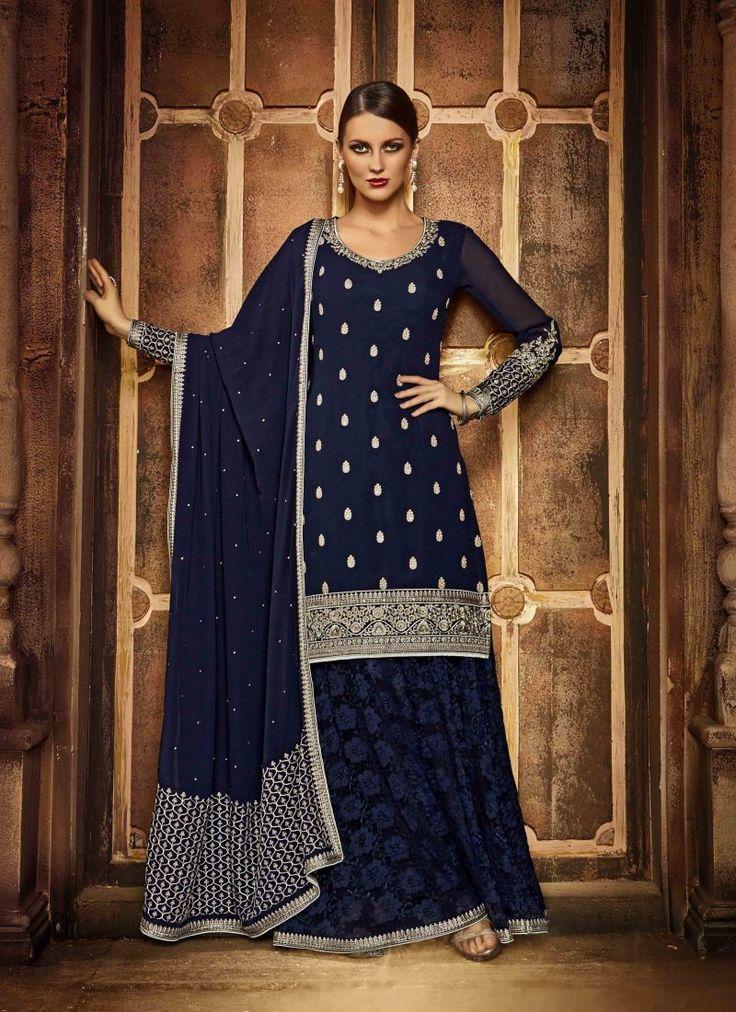 Fancy Designer Anarkali Collection Dark Blue Colored Salwar Suit