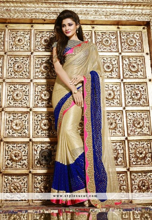 Graded Gold And Blue Color Net Fabric Designer Saree
