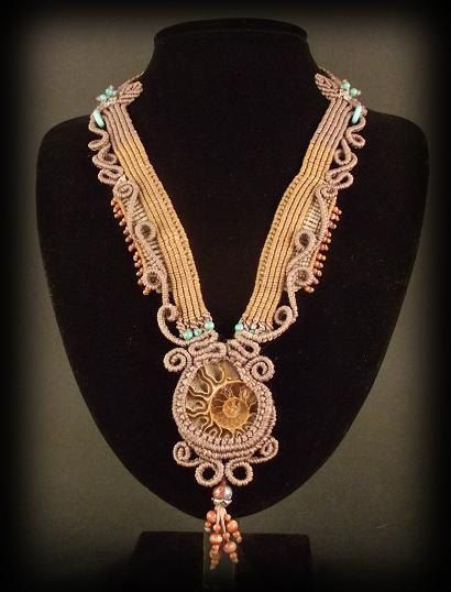Macrame jewelry necklace with ammonite fossil by Mabutirat on Etsy