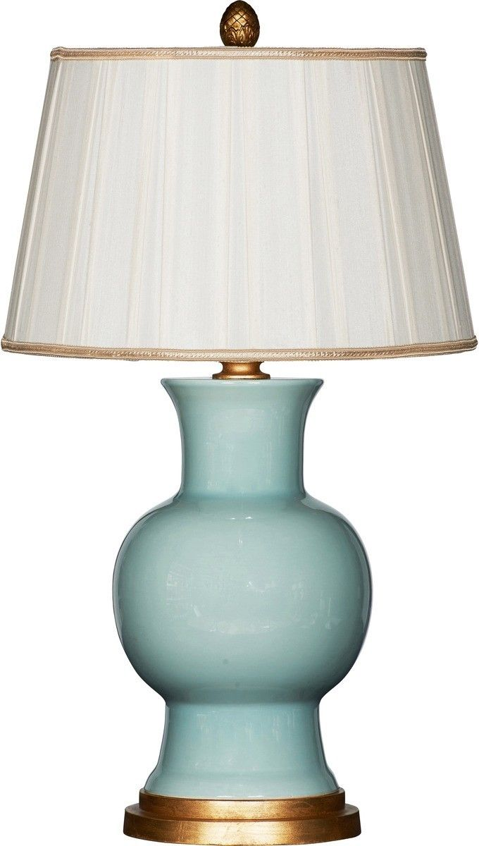 """This lovely ceramic lamp features a celadon green base and is topped off with a white shade with gold accents. The lamp measures 30""""H and the shade measures 14"""" in diameter on the top, 18"""" in diameter"""