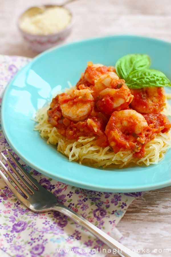 Spaghetti Squash with Shrimp Marinara