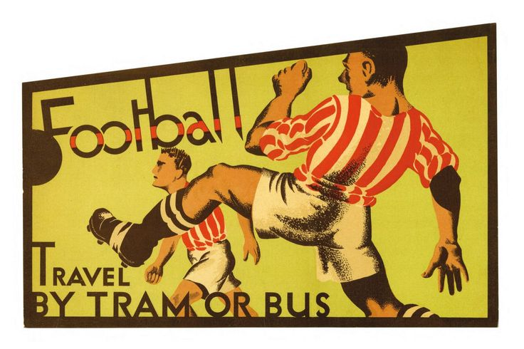 One of a series of posters for Manchester trams and buses produced by Manchester Municipal School of Art students for the Corporation Transport Department, United Kingdom, 1934, reproduced for modern sale by Manchester City Council.