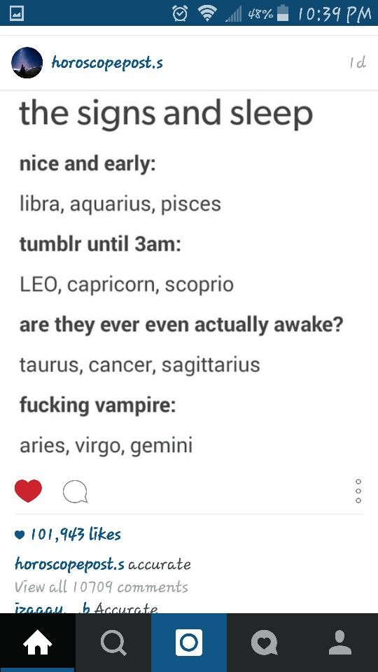 Signs and sleep