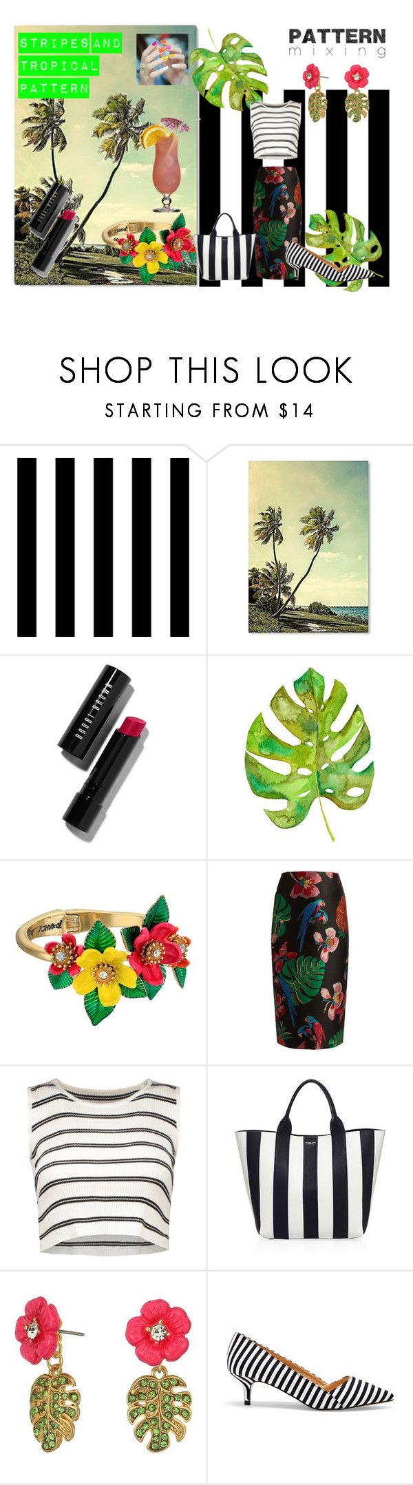 """stripes and tropical pattern"" by emily-dickson-1 ❤ liked on Polyvore featuring Tempaper, Bobbi Brown Cosmetics, Betsey Johnson, Valentino, Michael Kors, Sole Society and petternmixing"