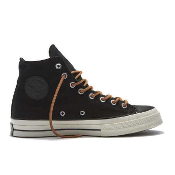 Black Chuck Taylor All Star 70's Hi Sneakers ($48) ❤ liked on Polyvore featuring shoes, sneakers, kohl shoes, converse shoes, black sneakers, star shoes and suede sneakers
