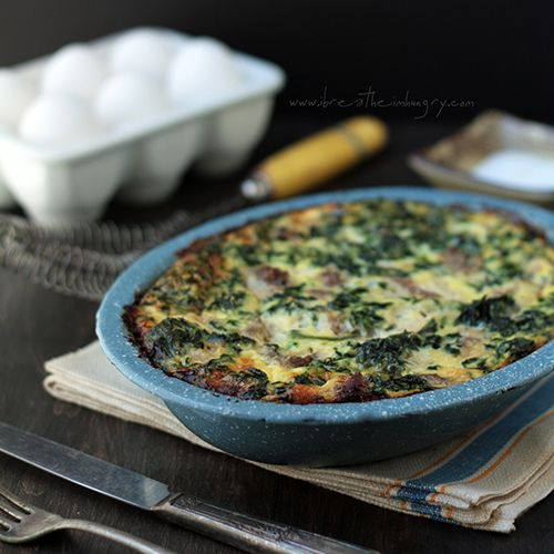 Sausage, Spinach and Feta Frittata a low carb and gluten free breakfast recipe from ibreatheimhungry.com