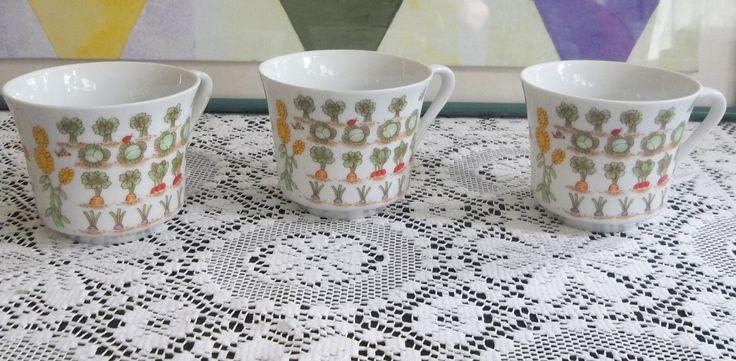 Enesco Vintage Fine China Coffee/Tea Cups 1976 Vegetable Garden Series - Set of Three (3) by HerbsforLivingLife on Etsy