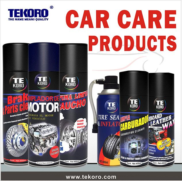 E-mail: nicola@tekoro.com    Skype: yaya10203  TEKORO Car care products include spray paint, Multi-purpose Foam cleaner, Tire Shine, Dashboard Polish, Engine Degreaser, Carburetor and Choke cleaner, silicone spray, grease spray, ABrake Parts Cleaner, Tire sealer and inflator, Spray Lubricant, Glass Cleaner, Pitch Cleaner, Fuel Injector cleaner, Undercoating, Oil Treatment, Motor Flush, Ice Remover, Anti-mist Spray, Sticker Remover, Windshield Washer, White Lithium Grease and more.
