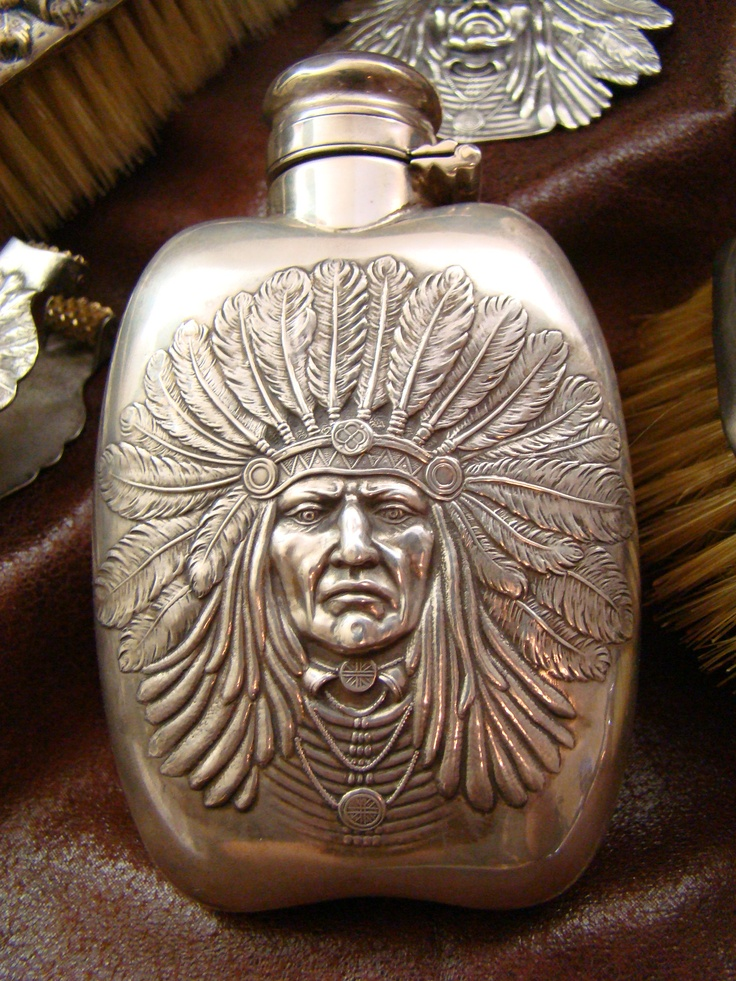 Unger Brothers Indian Chief Flask In Sterling Silver The