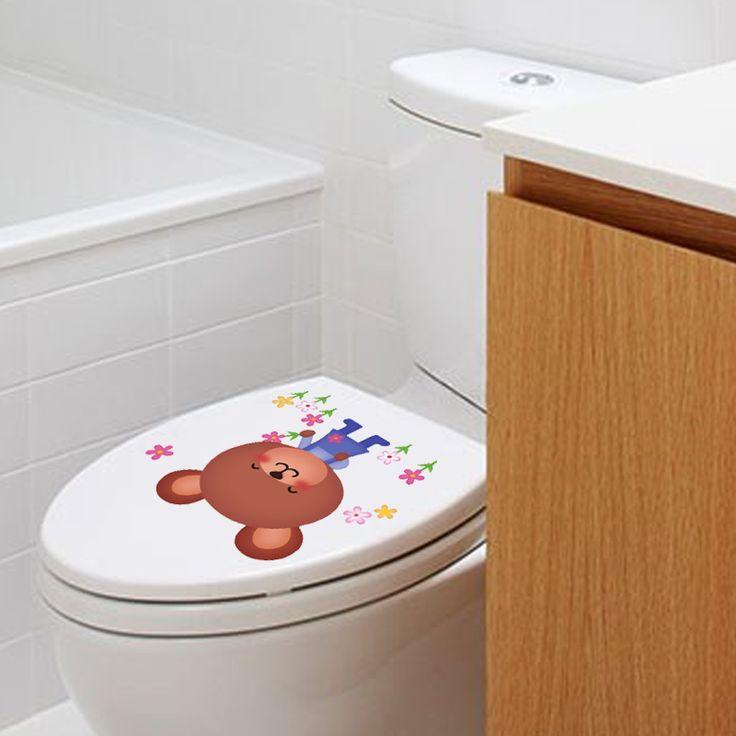 Colorful pic toilet wall sticker for home decor bathroom decoration waterproof closestool lid sticker vinilo pegatinas de pared