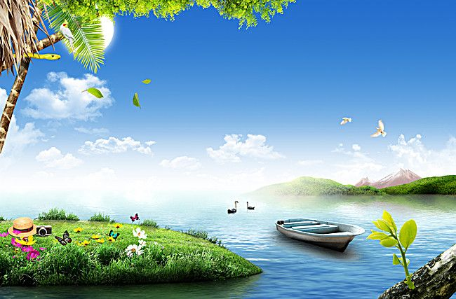 The Natural Beauty Of The River Ship Green Grass Background