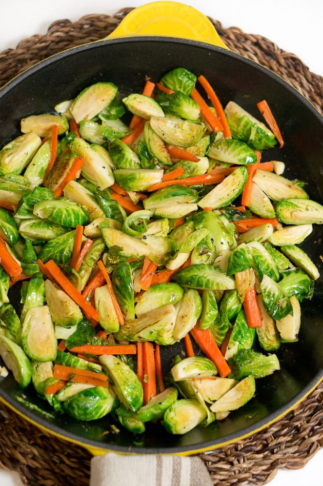 Simple and delicious sauteed brussels sprouts and carrots. Nutrients packed side dish that tastes great and is easy to make. Just 5 ingredients and ready in 10 minutes.