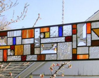 """Geometric Mission Study II -5"""" x 40""""-Stained Glass Panel"""