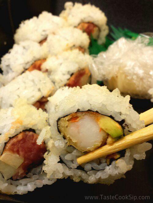 Maru Sushi, Sanford. The Tempura Shrimp Roll had tempura fried shrimp, avocado, spicy mayo with crunch flakes.