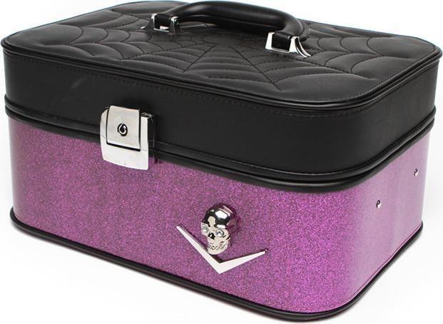Lux De Ville - Elvira Black Electric Purple Sparkle Vanity Case