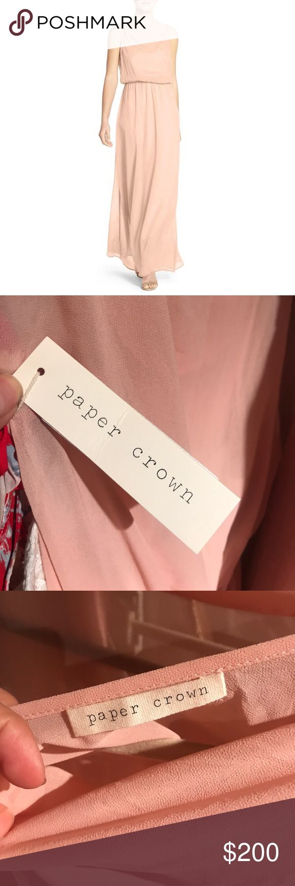 """Paper Crown🌸SALE🌸Bridesmaid Springfield Dress A sleeveless gown befitting a Grecian goddess is fashioned from ethereal chiffon in an elegant yet effortlessly fitting style with a collarbone-grazing cowl neckline atop the blousy bodice. Color: pink.   59"""" length Slips on over head. Cowl neck. Reasonable offers will be considered. 🌸 On sale now at Nordstrom for $177! Paper Crown Dresses Maxi"""