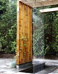 Pergola with airy waterfall