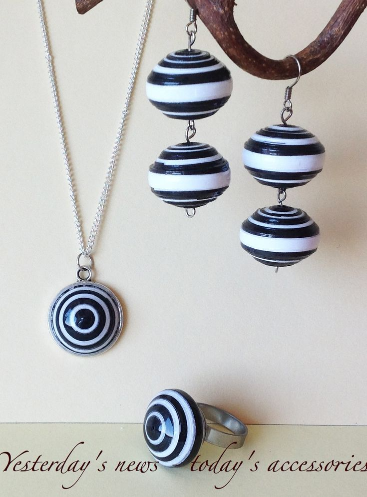 Quilled paper earrings, ring & pendant by Yesterday's news - today's accessories