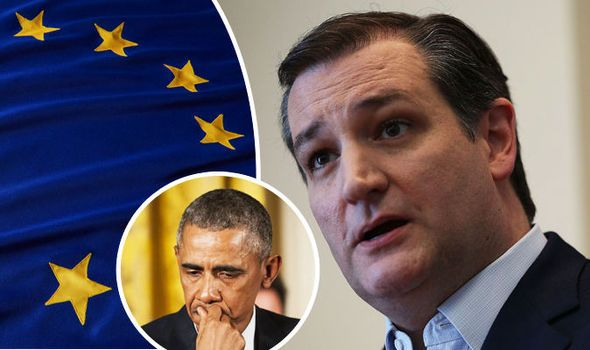 PRESIDENTIAL hopeful Ted Cruz has blasted Barack Obama for snubbing a post-Brexit trade deal with the UK..apr16