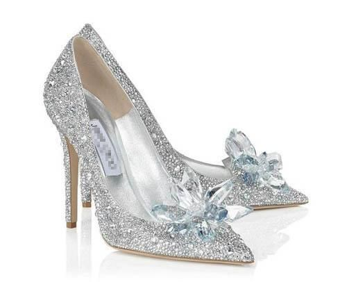 2015 Cinderella Heroine Lily James High Heels Silver Pumps Beaded Formal Occasion High Heel Shoes Rhinestone Ponited Toe Wedding Shoes