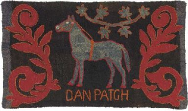 Hooked Rug, American, early 20th century - Dan Patch (April 29, 1896-July 11, 1916) was the outstanding pacer of his day. He broke world speed records at least 14 times in the early 1900s, finally setting the world's record for the fastest mile by a harness horse (1mile in 55 seconds) during a time trial in 1906, a record that stood unmatched for 32 years. ...~♥~