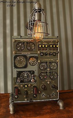 Steampunk Machine Age Aviation Lamp Instrument Control Panel Industrial Art, my dad (who flew) would have loved this!