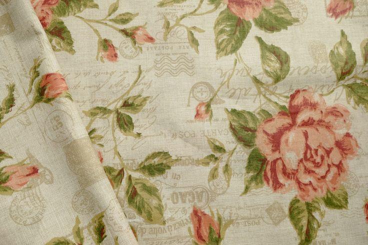 Tkanina bawełna Róże RETRO LALABAJ Pracownia Tkanin