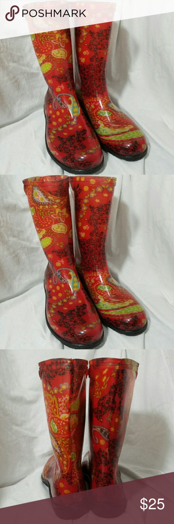 "SLOGGERS Sz 7 Red Paisley Rubber Rain Boots Brand: Sloggers  Item: *Womens Size 7 Red with a Floral Paisley Design Rain Boots *The Pattern Is Actual Fabric Covered in Rubber or Flexible Plastic *Waterproof *They are 10"" High *Excellent Pre-Loved Condition Showing only Very Minimal Wear on the Soles   *no trades, offers via offer button only* Sloggers Shoes Winter & Rain Boots"