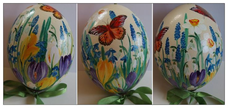 Alleluja by Xantosia  #Xantosia #ostrich #egg #wielkanoc #wydmuszka #Easter #strusie #jajo #handpaineted #reczniemalowane #handmade #wiosna #kwiaty #flowers #narcyzy #przebiśniegi #krokusy #szafirki #motyle #butterfly #spring